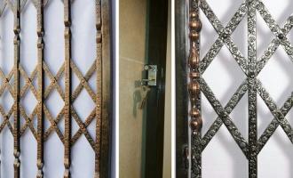 درب آکاردئونی آهنی| درب ورودی حیاط|درب ساختمان فلزی