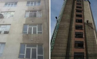 شستشوی نما با واترجت|شستشوی نما در تهران|شستشوي نما بدون داربست