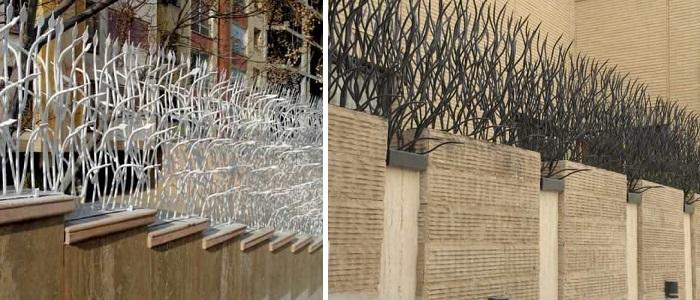 انواع حفاظ روی دیوار:شاخ گوزنی،حفاظ نیزار، بوته ای و سرنیزه حفاظ